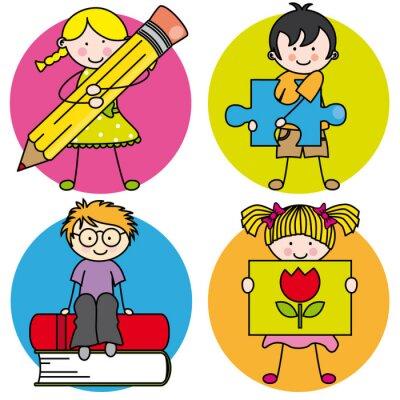 Quadro Tarjeta Aprender a pintar, escribir, leer, jugar