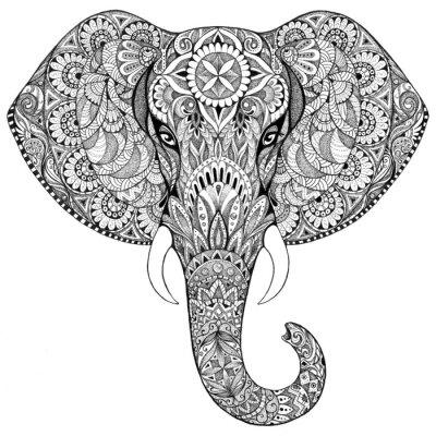 Quadro Tattoo elephant with patterns and ornaments