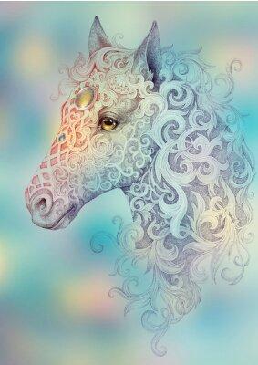 Quadro Tatuagem, bela cabeça de cavalo com uma juba