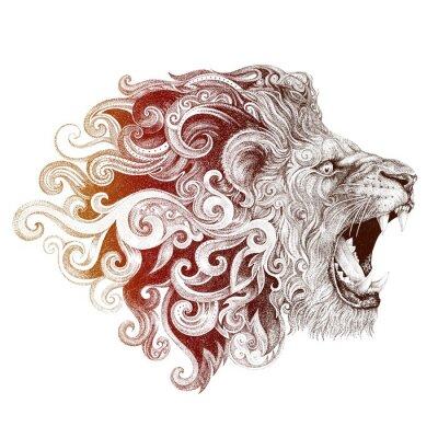 Quadro Tatuagem, cabeça, sorrindo, leão