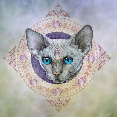Quadro Tatuagem, os gatos cabeça no círculo