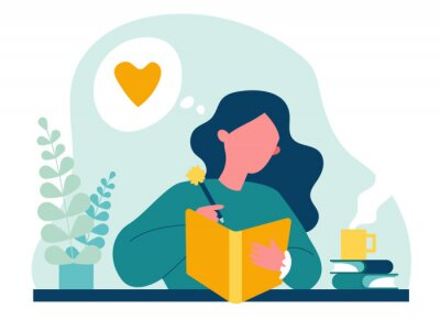 Quadro Teenage girl writing diary or journal. Happy young woman reading book and taking notes with pencil. Vector illustration for journal, author, student, teenager in love concept