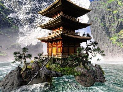 Quadro Templo budista em montanhas rochosas