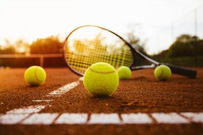 Quadro Tênis, bolas, raquete, argila, corte