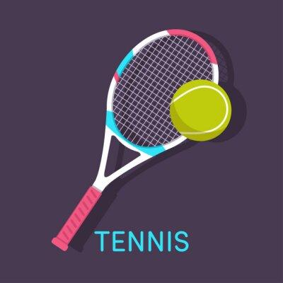 Quadro Tênis, raquete, bola fundo marrom