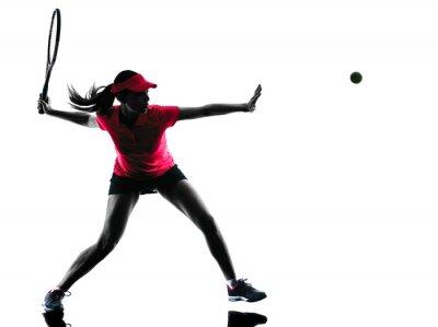 Quadro tênis silhueta da mulher tristeza jogador