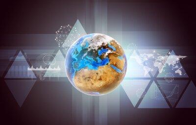 Quadro Terra com mapa do mundo