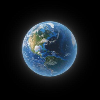 Quadro Terra do espaço mostrando Norte e América do Sul