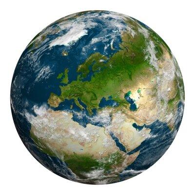 Quadro Terra do planeta com nuvens.