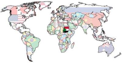 Quadro Território sudanês no mapa do mundo