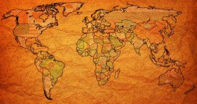 Quadro Território surinam no mapa do mundo