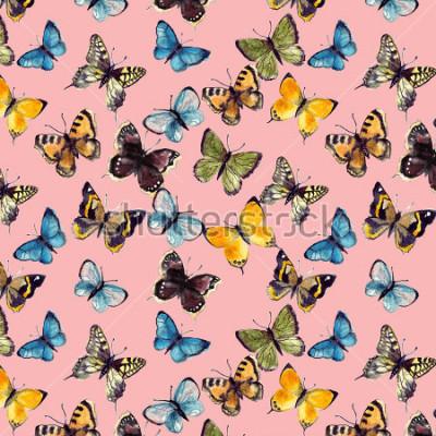 Quadro teste padrão de borboleta da aguarela