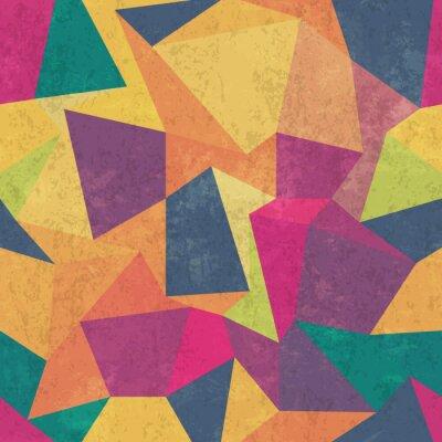 Quadro Teste padrão do triângulo. Colorido, grunge e sem emenda. Efeitos do grunge