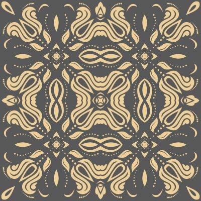 Quadro Teste padrão dourado oriental com arabesques e elementos florais. Ornamento clássico tradicional