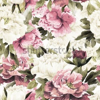 Quadro Teste padrão floral sem emenda com as rosas no fundo branco, aguarela.