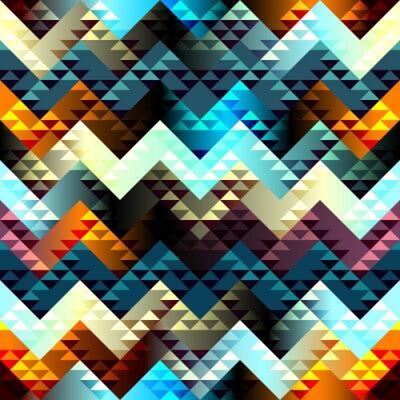 Quadro Teste padrão no estilo astecas em chevron fundo.