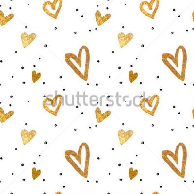 Quadro Teste padrão sem alteração nos corações do ouro. Tirando o estilo da escova da carta branca. Ilustração metálica de vetor.