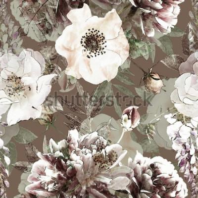 Quadro Teste padrão sem emenda colorido floral do lápis do vintage da arte com rosas brancas e peônias no fundo verde. Exposição dupla e efeito Bokeh
