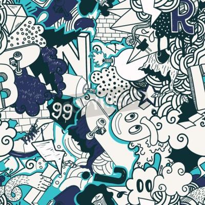 Quadro Teste padrão sem emenda colorido. Os grafittis doodam a ilustração da arte da rua em cores azuis. Composição elementos bizarros e personagens para skate board, roupas de rua, streetwear, papéis de par