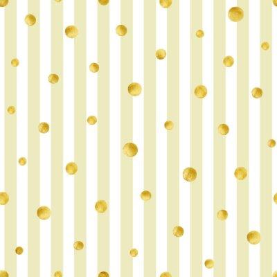 Quadro Teste padrão sem emenda com círculos dourados pintados mão. Teste padrão de às bolinhas do ouro