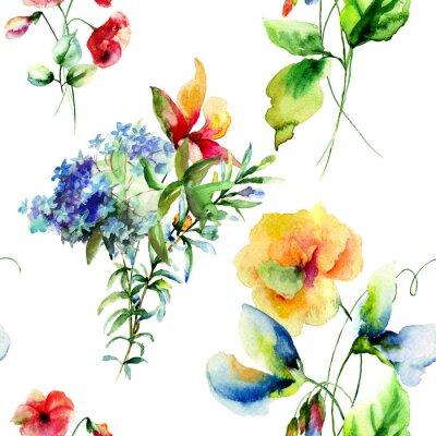 Quadro Teste padrão sem emenda com flores do verão decorativos