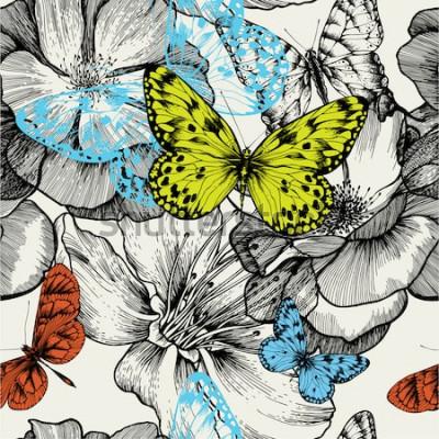 Quadro Teste padrão sem emenda com rosas de florescência e borboletas do voo, desenho da mão. Ilustração vetorial