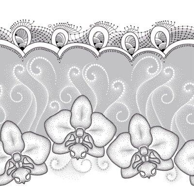 Quadro Teste padrão sem emenda com traça pontilhada Orquídea ou Phalaenopsis, redemoinhos brancos e laço decorativo no fundo cinzento. Fundo floral no estilo do pontowork.