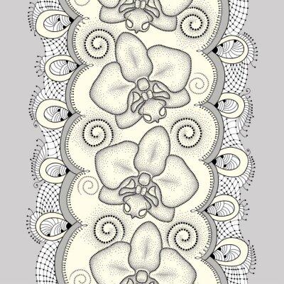 Quadro Teste padrão sem emenda com traça pontilhada Orquídea ou Phalaenopsis, redemoinhos e laço decorativo na luz - fundo amarelo. Fundo floral no estilo do pontowork.