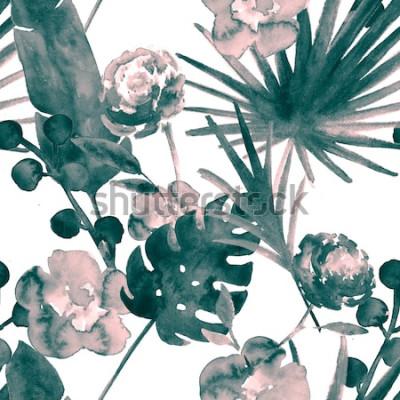 Quadro Teste padrão sem emenda da aquarela floral exótica retro boêmia do azul de turquesa. Fundo macio da tela fêmea com banana, folhas do ventilador, rosas. Impressões tropicais do papel de parede do teste