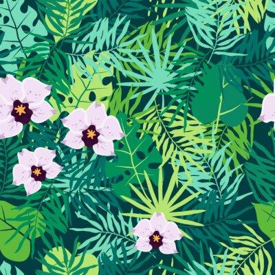 Quadro Teste padrão sem emenda da selva com folhas e a orquídea tropicais.