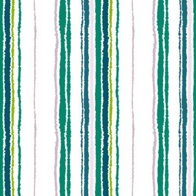 Quadro Teste padrão sem emenda da tira. Linhas verticais com efeito de papel rasgado. Fundo da borda do fragmento. Contraste claro e cinza escuro, verde-oliva, cores verdes em branco. Vetor