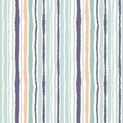 Quadro Teste padrão sem emenda da tira. Linhas verticais com efeito de papel rasgado. Fundo da borda do fragmento. Luz e cinza escuro, azeitona, cores de turquesa no branco. Vetor