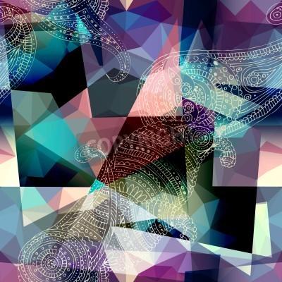 Quadro Teste padrão sem emenda do fundo. Imitação da pintura do estilo do Cubism.