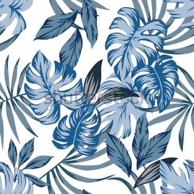 Quadro Teste padrão sem emenda do vetor das folhas de palmeira exóticas tropicas em um estilo azul na moda do vintage. Imprimir natureza moda ilustração pintura floral selva papel de parede sobre um fundo br