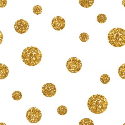 Quadro Teste padrão sem emenda dos pontos com textura dourada do glitter.