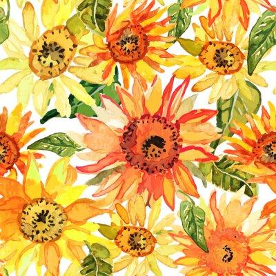 Quadro Teste padrão sem emenda floral com girassóis tirados aguarela.