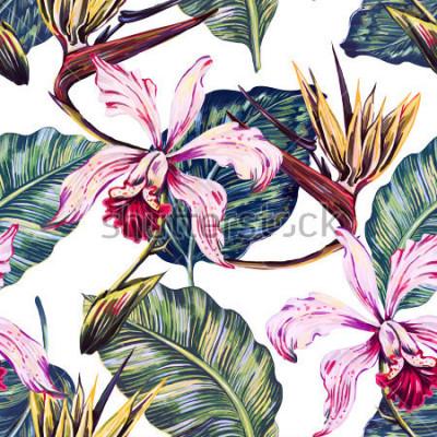 Quadro Teste padrão tropical sem emenda floral, fundo do verão com flores exóticas, folhas de palmeira, folha da selva, orquídea, pássaro da flor de paraíso. Papel de parede botânico, ilustração em estilo ha