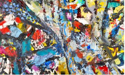 Quadro Textura, plano de fundo, padrão. Pintura pintada por artista. Textura abstrata do fundo da arte, pintura acrílica na lona. Silhuetas de pessoas, temas orientais,