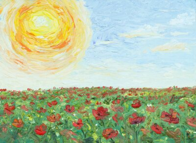 Quadro The sun over poppy field, painting, oil on canvas