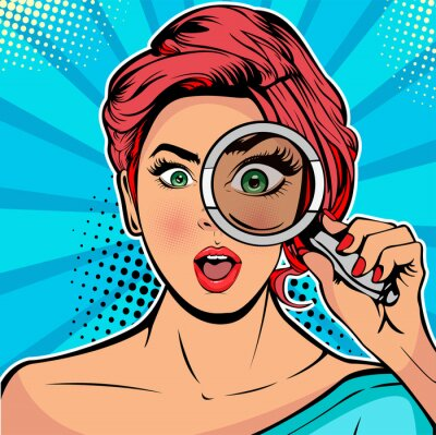 Quadro The woman is a detective looking through magnifying glass search. Vector illustration in pop art retro comics style