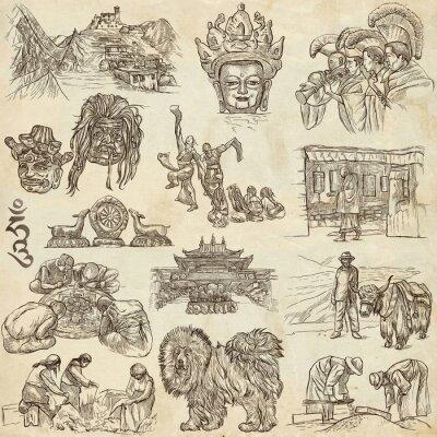 Quadro Tibet. Viagem - Fotos de Vida. Desenhos à mão.