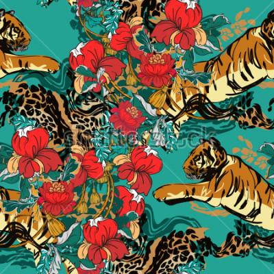 Quadro Tigre abstrato bonito com flores vermelhas e teste padrão de tendência sem alteração. Tecido de design.