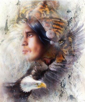 Quadro Tigre com águia e ilustração indiana do guerreiro e da mantilha. Animais selvagens na pintura de fundo, contato com os olhos, branco, preto e marrom cor