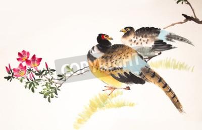 Quadro Tinta chinesa pintura pássaro e planta