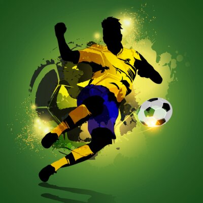 Quadro Tiroteio jogador de futebol colorida