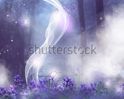 Quadro To fundo da fantasia com flores roxas e efeitos mágicos.