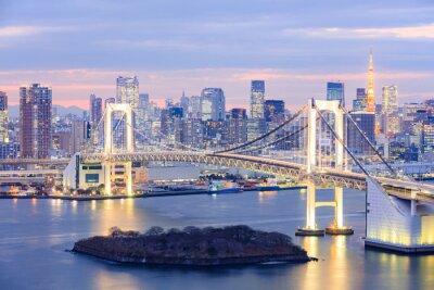 Quadro Tokyo, Skyline, Tóquio, torre, arco íris, ponte