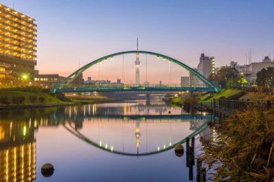 Quadro tokyo skytree and colorful bridge in refection