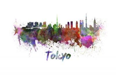 Quadro Tóquio horizonte em aquarela