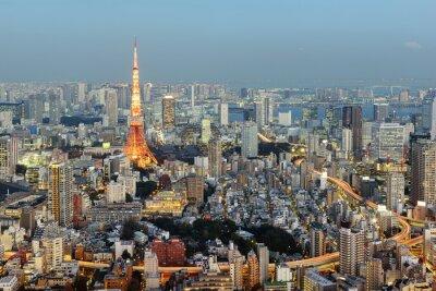 Quadro Tóquio; Japão - 14 de janeiro; 2016: Opinião da noite de Tokyo Skyline com a torre icónica de Tokyo no fundo.